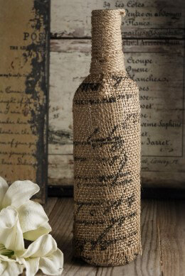 Burlap Bottle with Script Print 12in