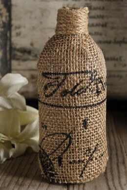 Burlap Bottle with Script Print 7.5in