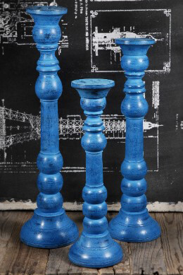 Wood Pillar Candle Holder Set of 3 Blue