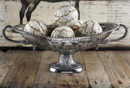 Decorative Silver Oval Footed Fruit Bowl