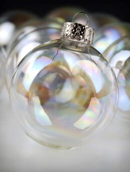 Iridescent Clear Glass Ornament 2-3/8