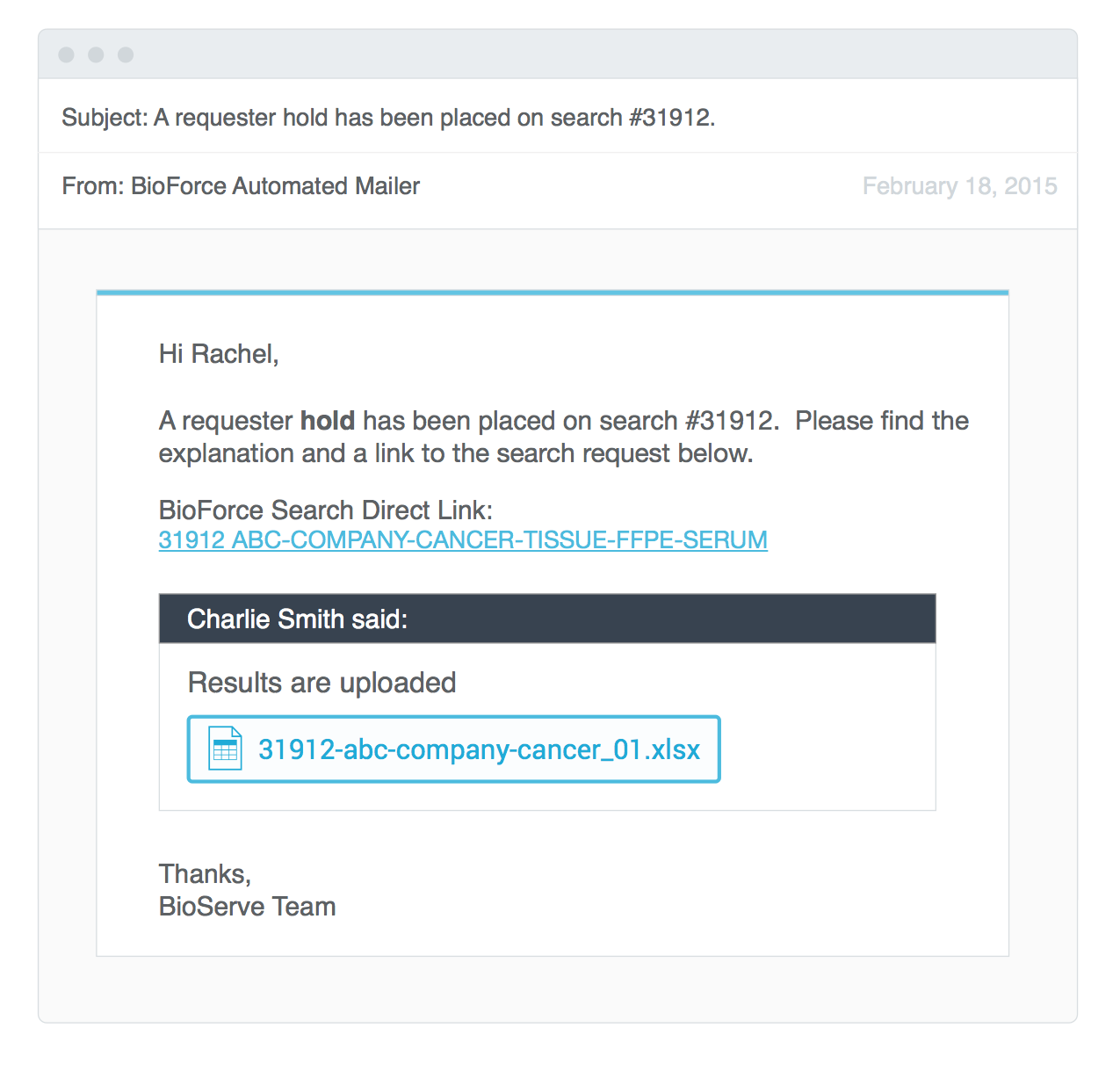 Biorepository software email alert