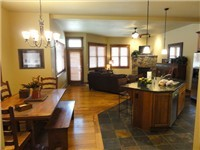 Great open floor plan with kitchen, dining and living room on main floor is great for entertaining.
