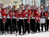 winter Carnival - Steamboat Springs Colorado- high school band on skis