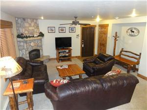 Living Room, gas fireplace, HDTV, Blue-Ray player