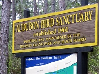 The entrance to the Audubon Bird Sanctuary on Dauphin Island