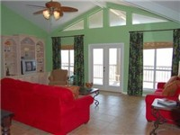 Vaulted ceiling in the Great Room makes this a very light and airy Dauphin Island beach house.