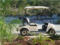 Golf cart for easy access to pool and beach access