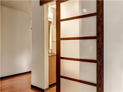 Bathroom and bedroom has shoji style door