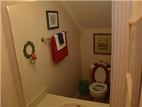 Downstairs half bath under stairwell.