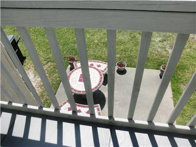 View of picnic table from the sunning deck.