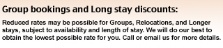 Group Bookings & Long Stay Discounts