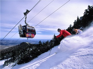 Skiing under Killington's gondola
