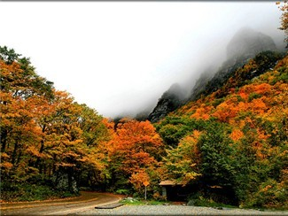 Driving through Smuggler's Notch in the Fall