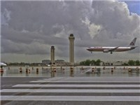 Plane Landing on the Miami International Airport