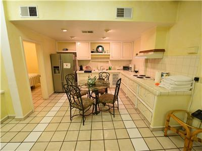The kitchen in the casita has a dining table