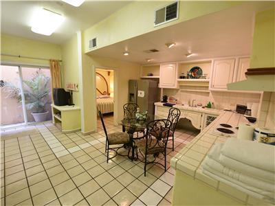 The downstairs casita has a kitchen