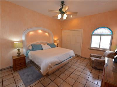 The Master bedroom has a King size bed