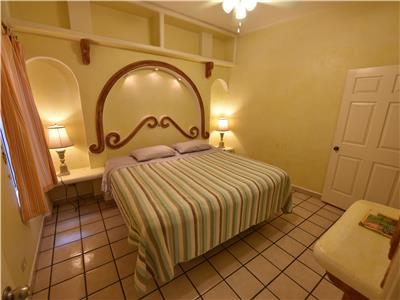 The casita bedroom has a King size bed