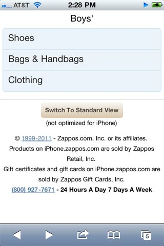 Zappos Mobile Marketing