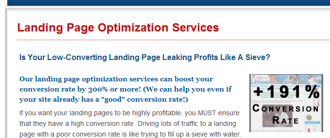 landing page conversion page