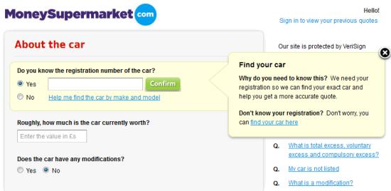 Money Supermarket Web Form