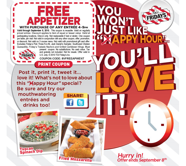 TGI Fridays Email Newsletter