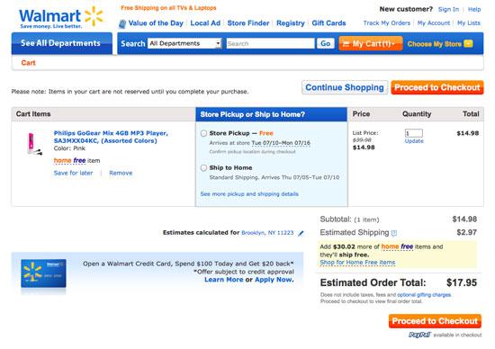 Walmart Shiping checkout