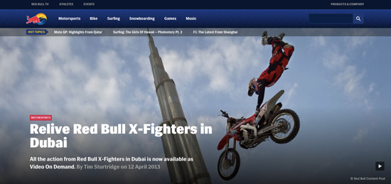 """Redbull invites you to explore the """"world of Red Bull"""" in form of the latest news and lots of videos and images."""