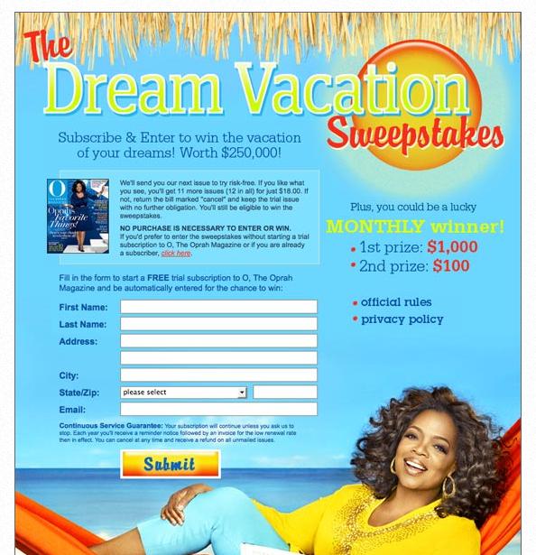 Oprah's dream vacation