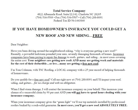 roofing offer