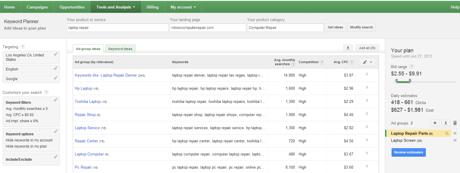 Updating pay per click campaigns excel