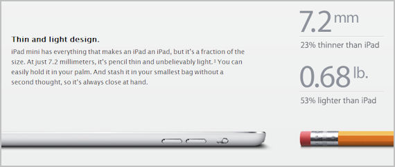 iPad mini size information on the Apple website
