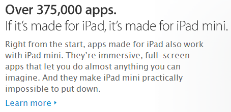 Apple's use of relevant facts in the iPad Mini copy