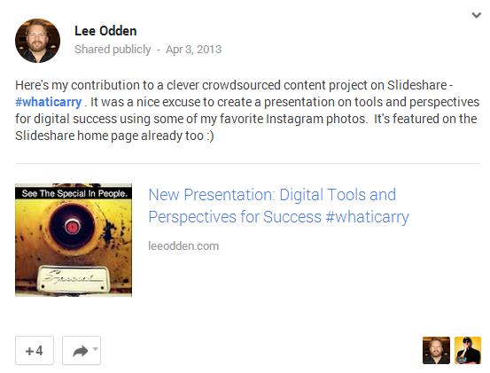 Lee Odden promotes