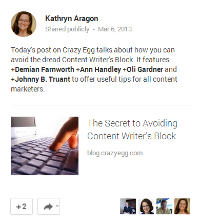 example Google+ post of content