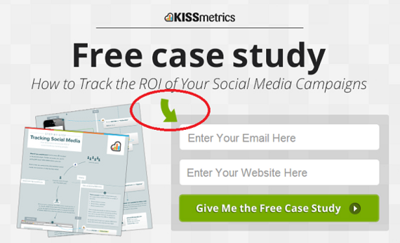 Directional cue used by KISSmetrics