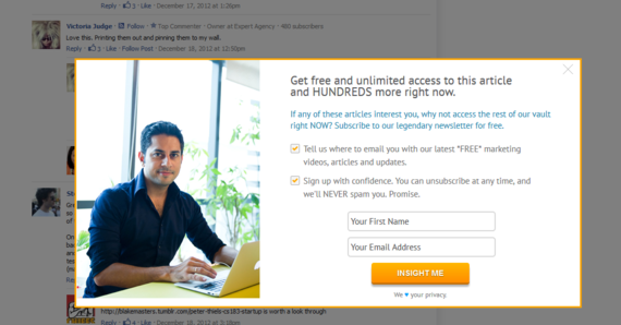 Mindvalley Insights uses the picture of their Founder to add credibility to their newsletter signup offer