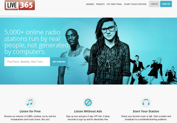 Homepage of Live 365