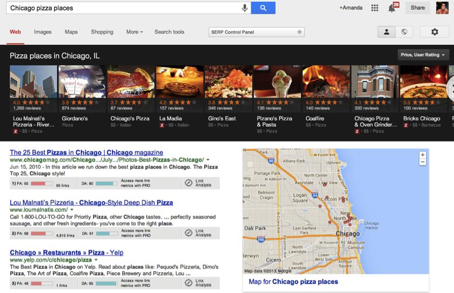 chicago pizza places google