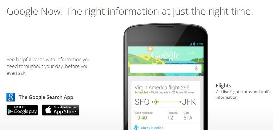 screenshot from google now page