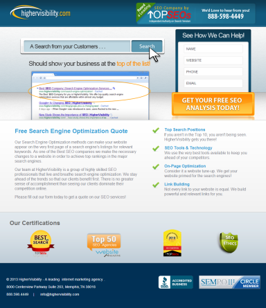 screenshot of a landing page