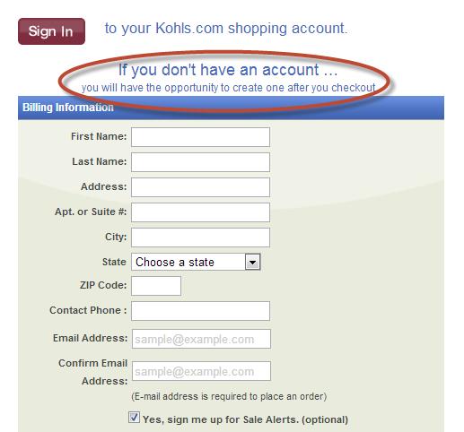 screenshot of checkout form
