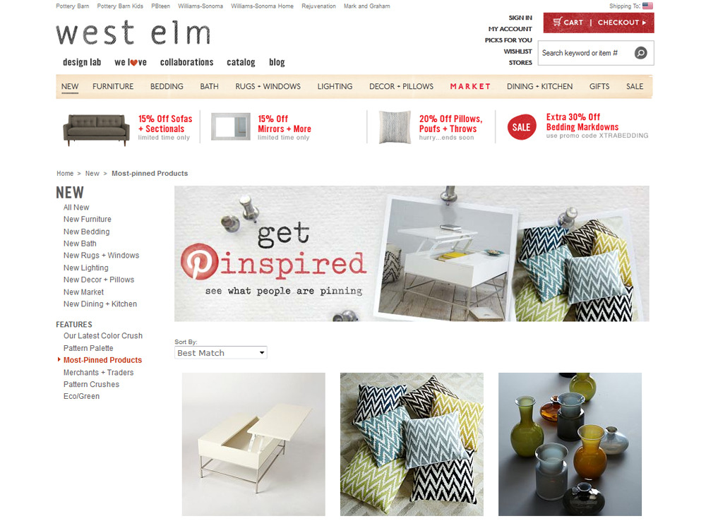 west elm most pinned