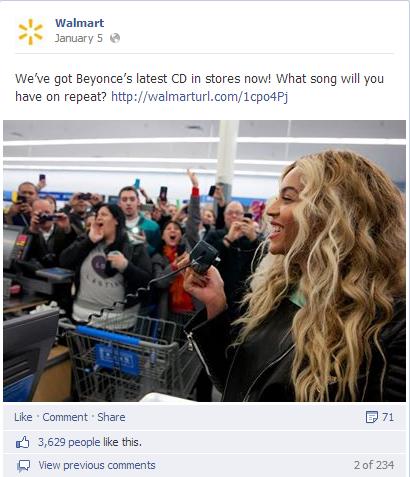 Facebook Beyonce Walmart