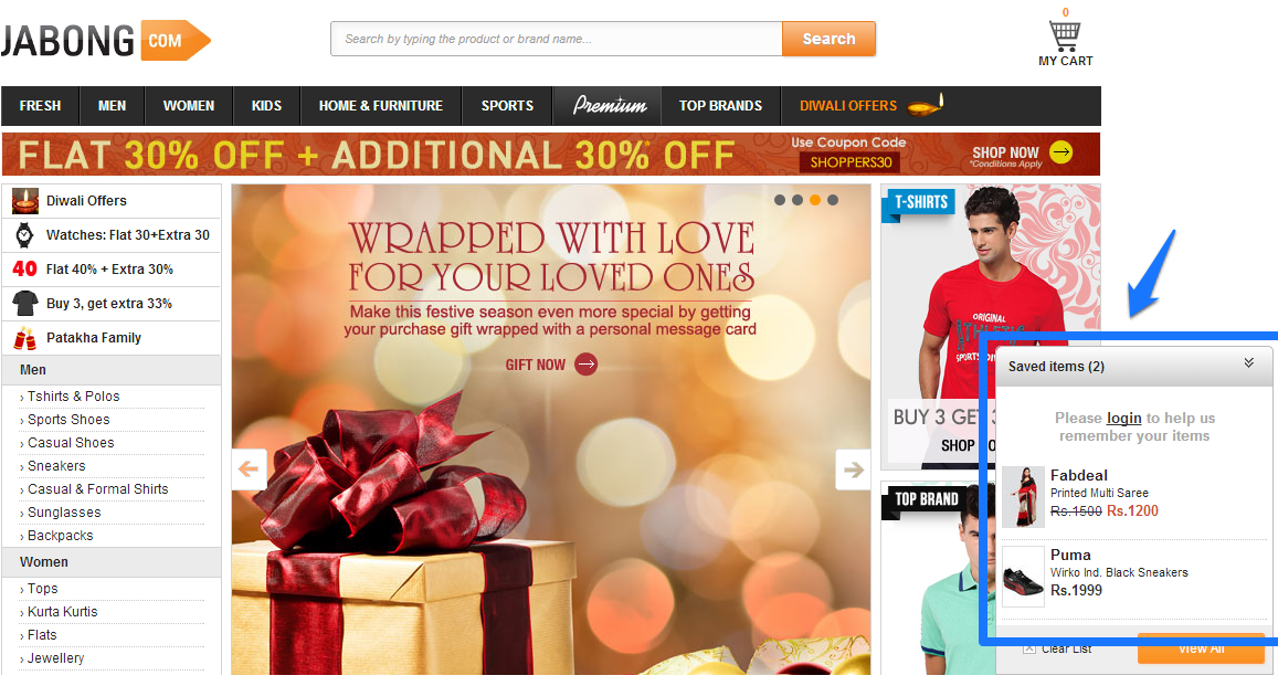 jabong saved items