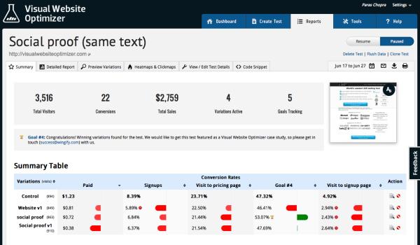 visual website optimizer screen