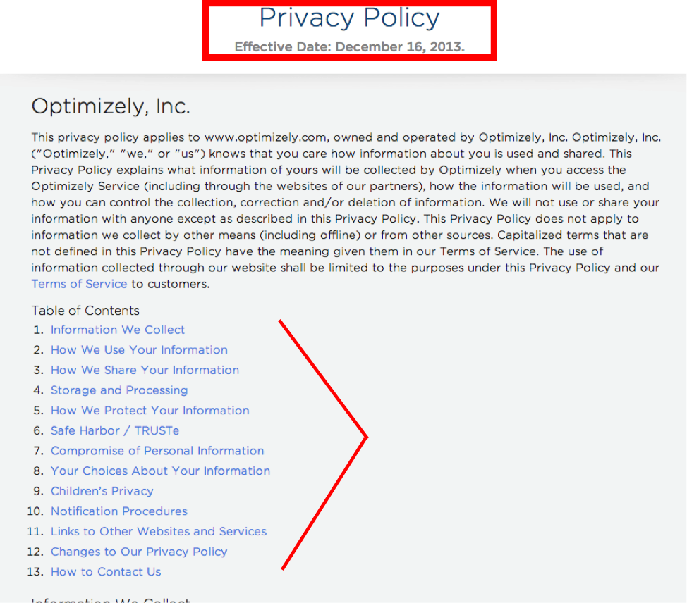 privacy policy effective date