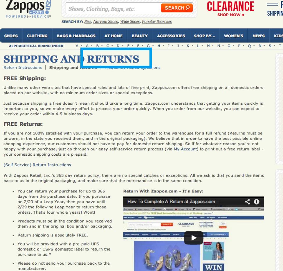zappos return