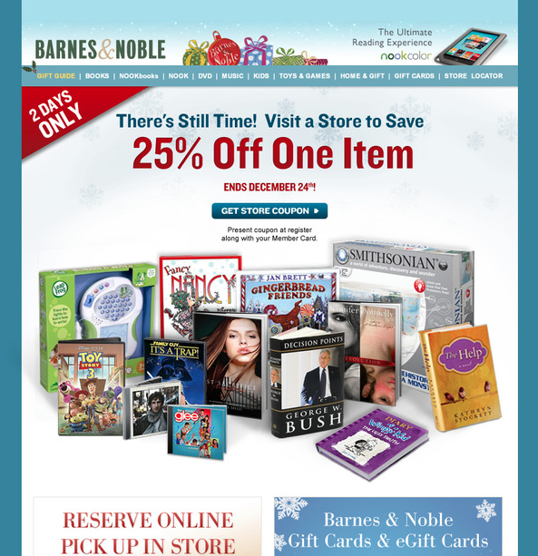 Barnes and Noble holiday website design